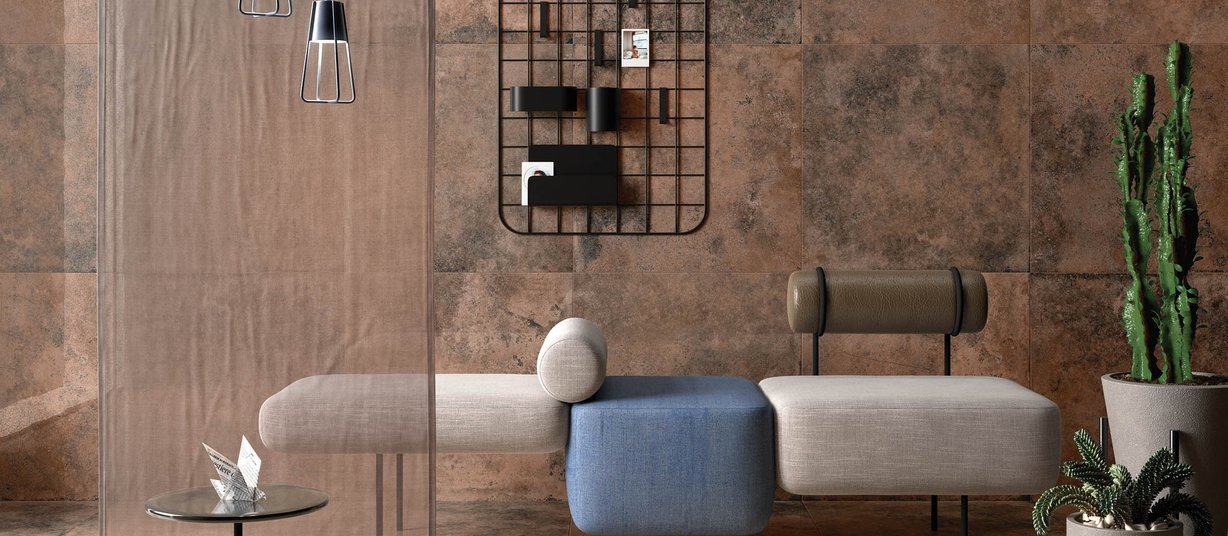 detroit metal Brown tiles Modern style Living