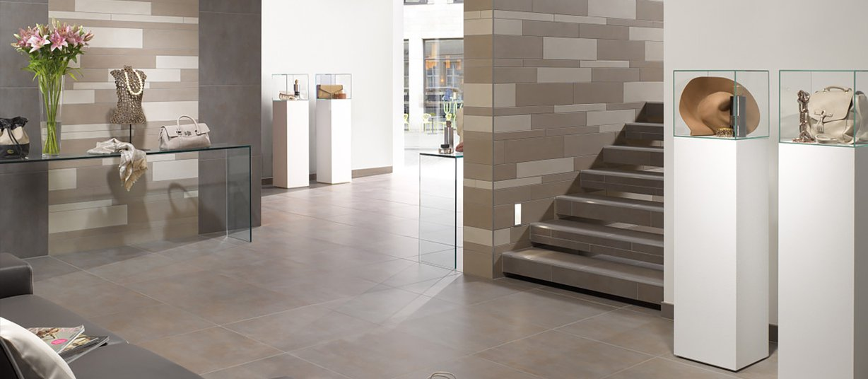 Earth stone Brown, Grey and Ivory tiles Modern style Light Commercial