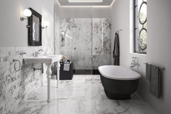 Elle marble White tiles Modern style Bathroom