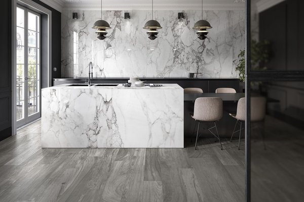 elle marble White tiles Modern style Kitchen