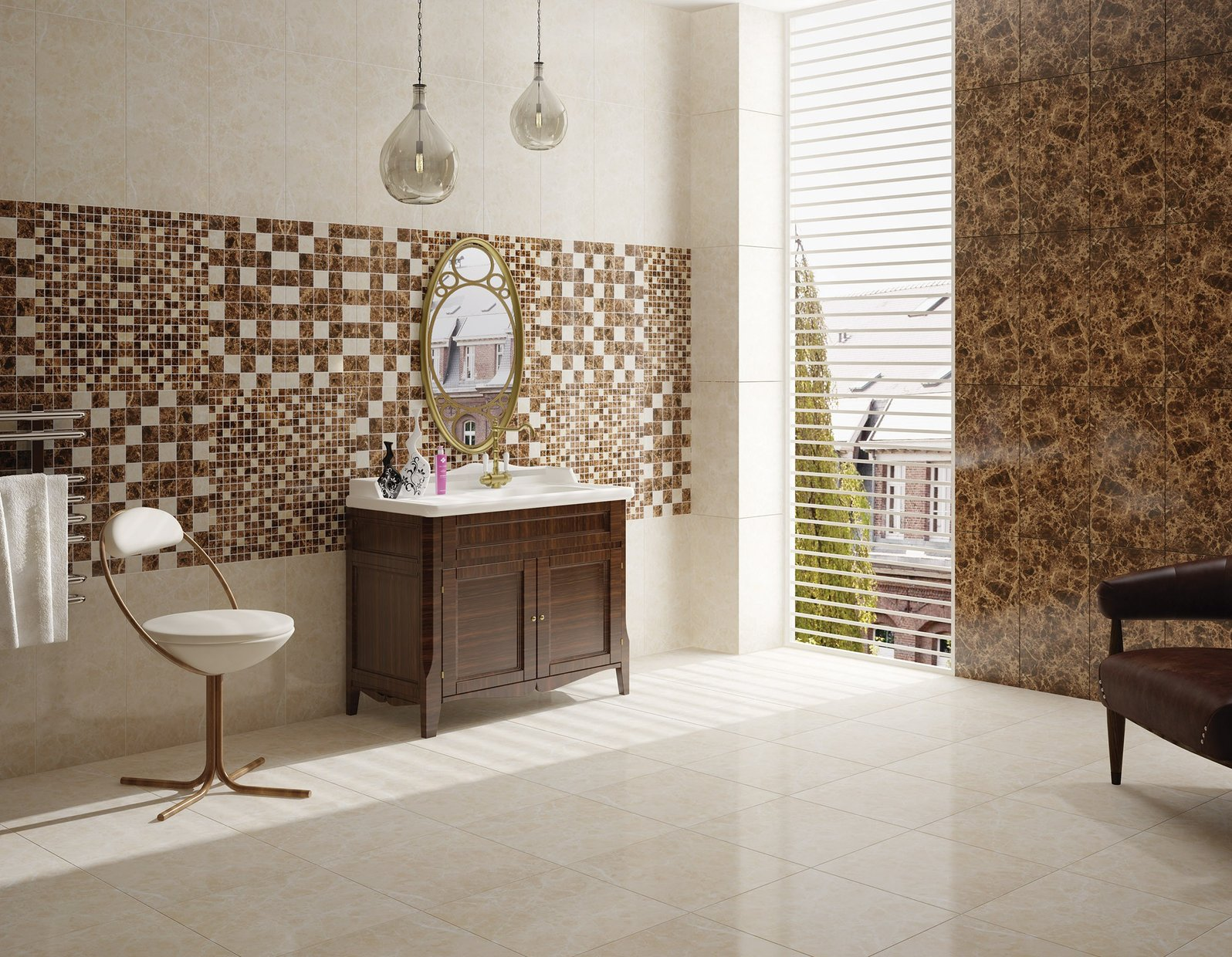 Emperador Brown, Ivory and White tiles Classic style Bathroom