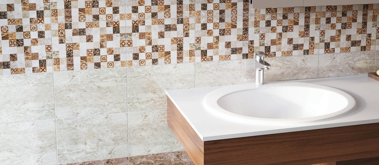 Enrica Brown, Grey and White tiles Modern style Bathroom