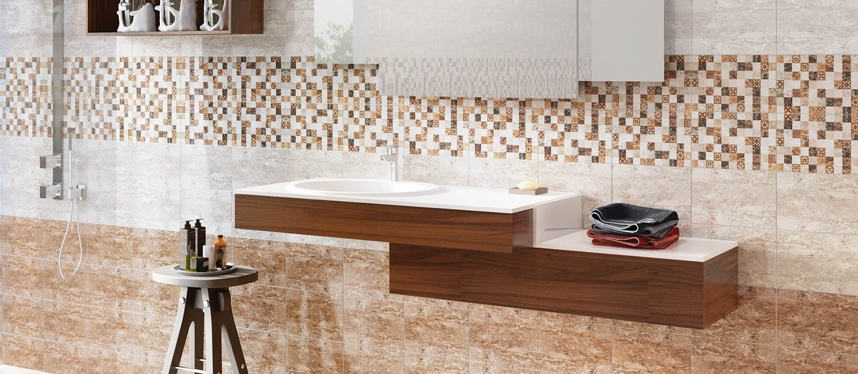 enrica Beige, Brown, Ivory, Mix and White tiles Country style Bathroom