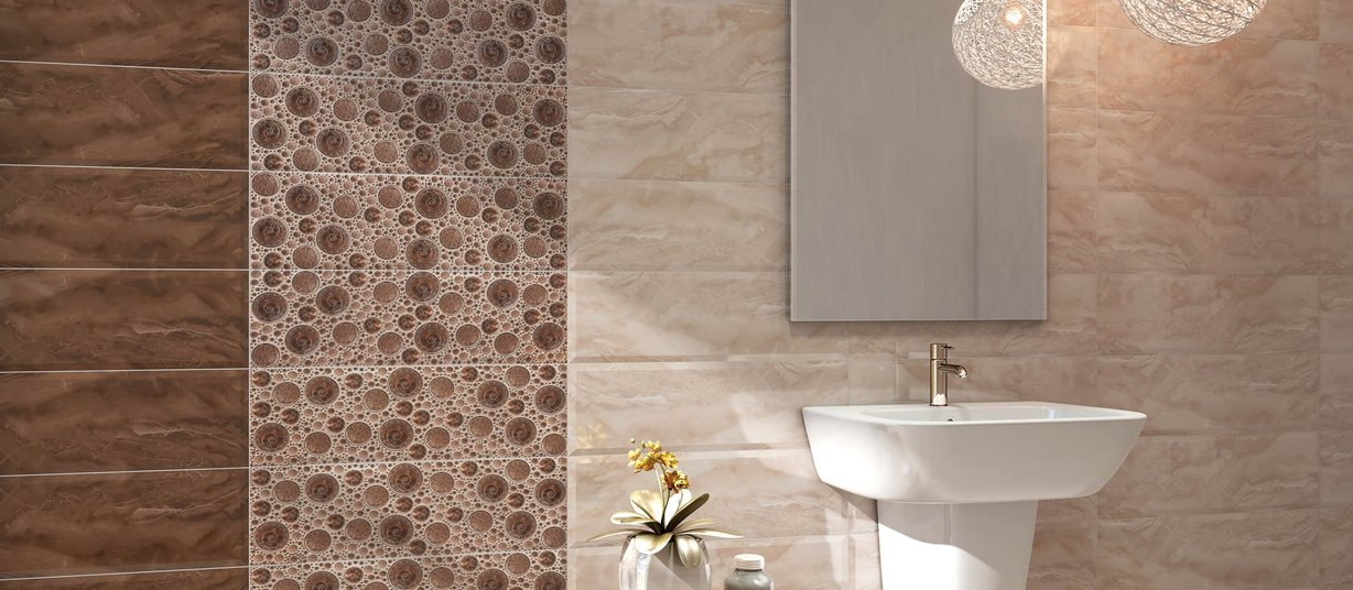 Etios Beige, Brown and Mix tiles Modern style Bathroom