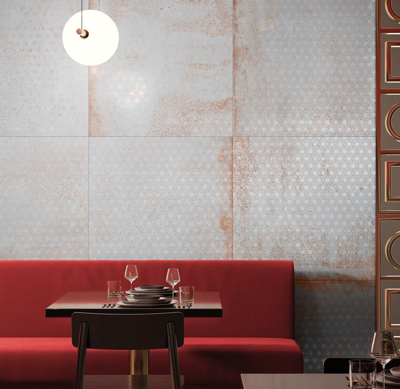 Evoque metal Grey and White tiles Modern style Light Commercial