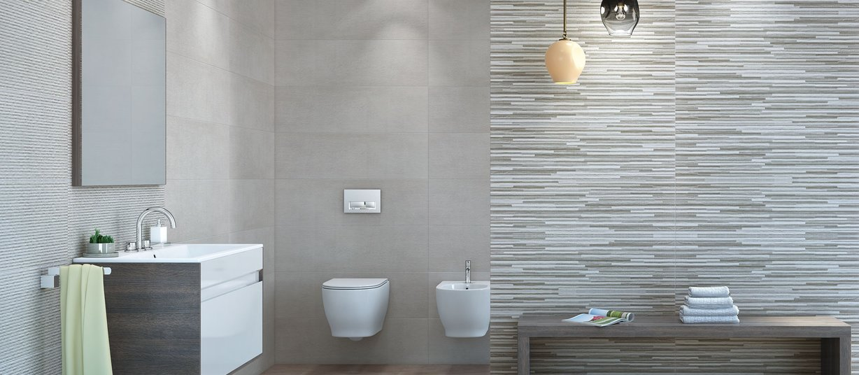 fabric concrete Mix and White tiles Modern style Bathroom