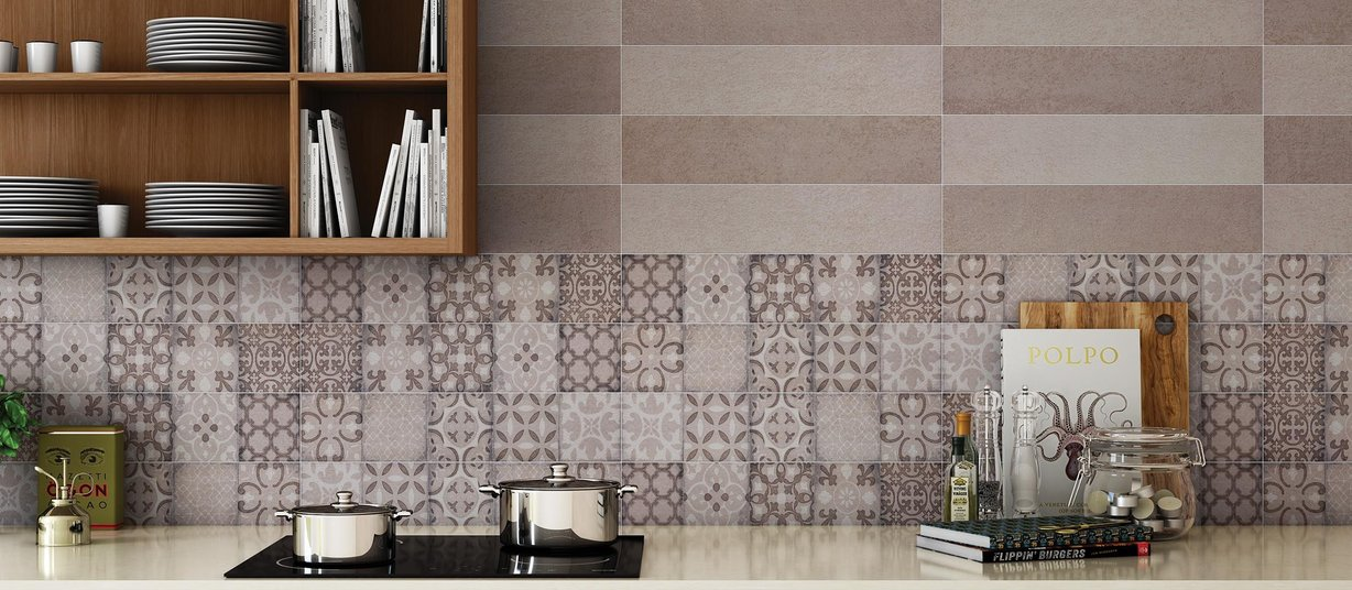 feel concrete Beige and Mix tiles Modern style Kitchen