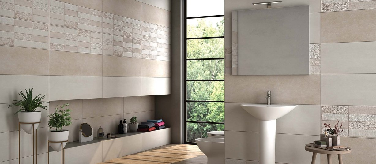 fortel Beige and Mix tiles Modern style Bathroom