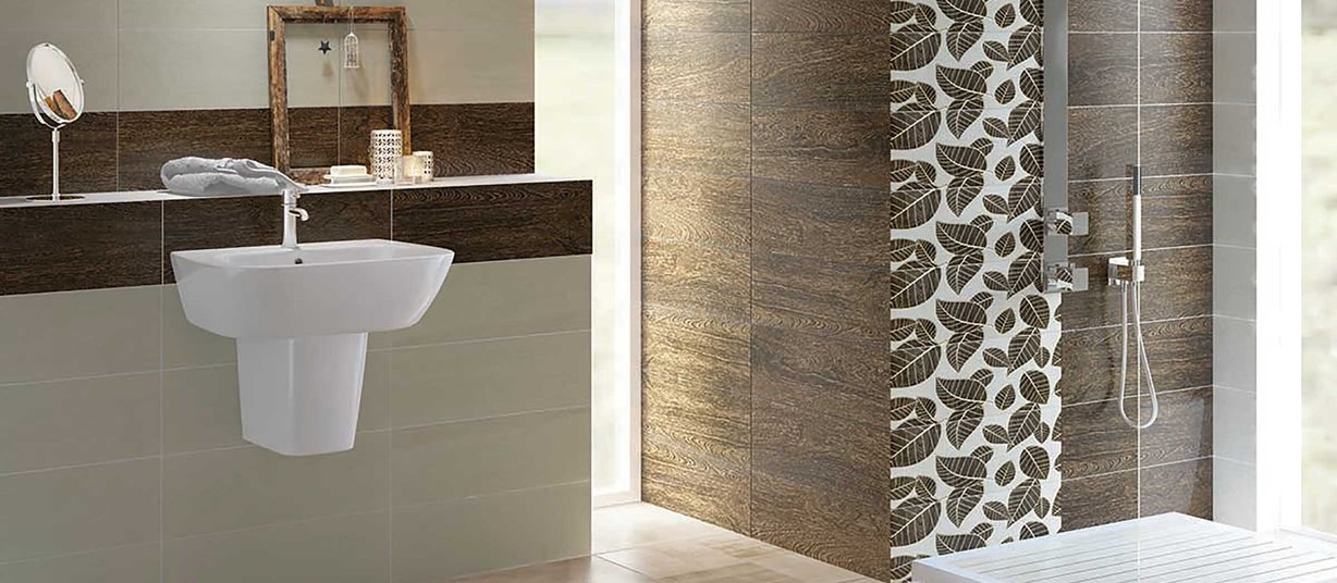 foster wood Beige and Brown tiles Modern style Bathroom