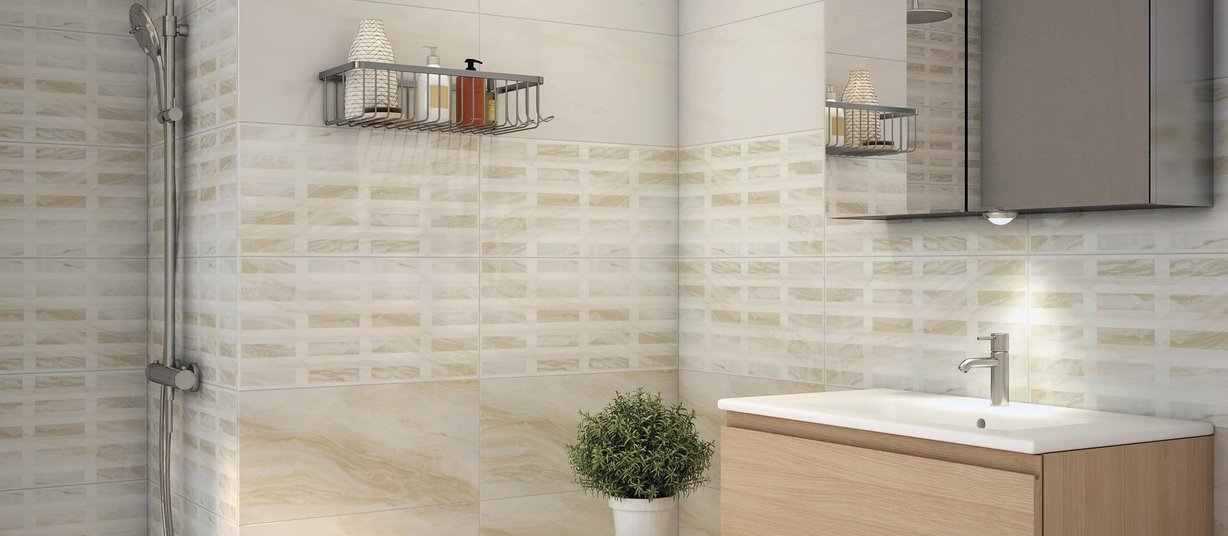 Fresco Beige and Ivory tiles Modern style Bathroom
