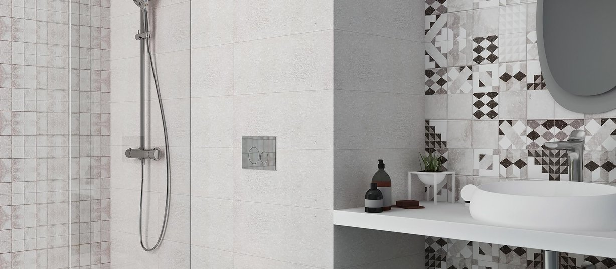 geometry Grey and Mix tiles Modern style Bathroom