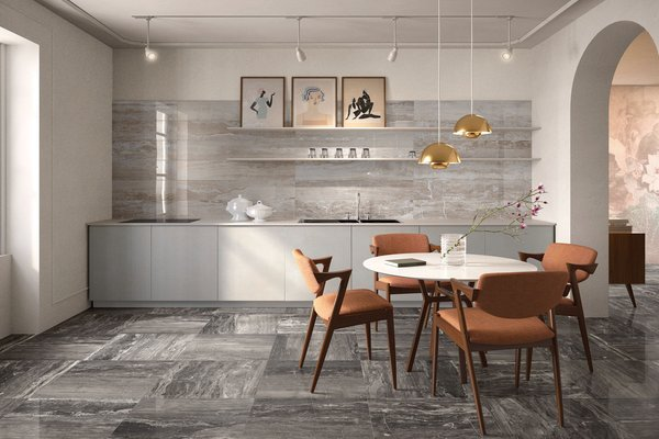 glam marble Beige and Grey tiles Modern style Kitchen