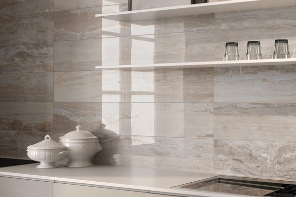 Glam marble Grey tiles Modern style Kitchen