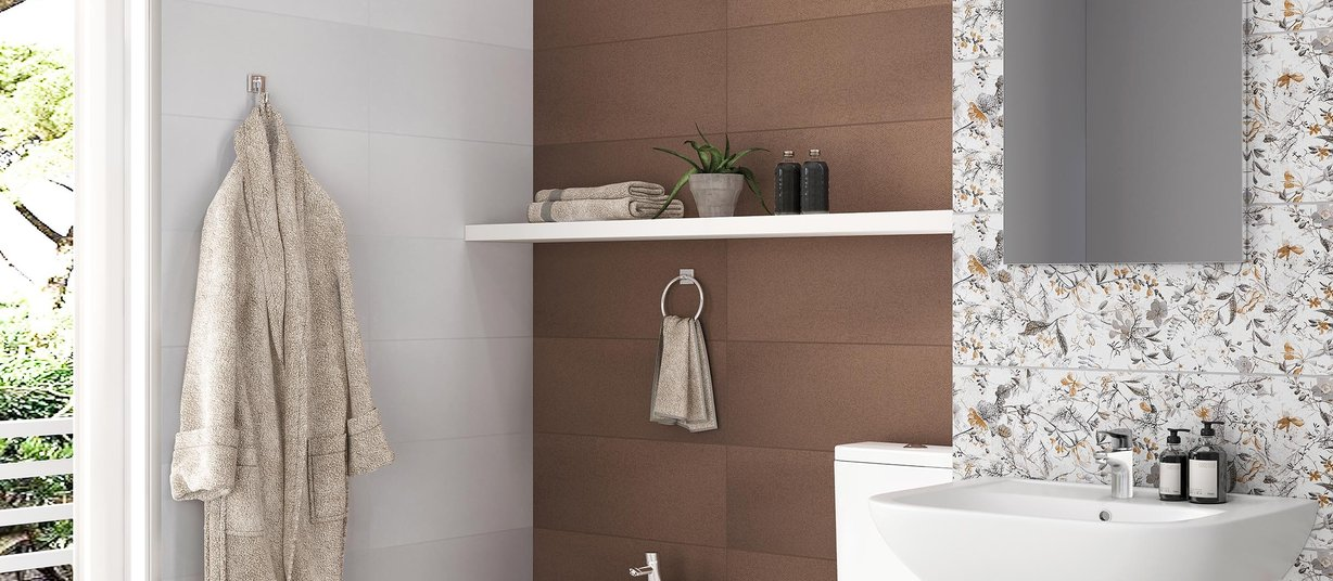 gloom Brown, Mix and White tiles Modern style Bathroom