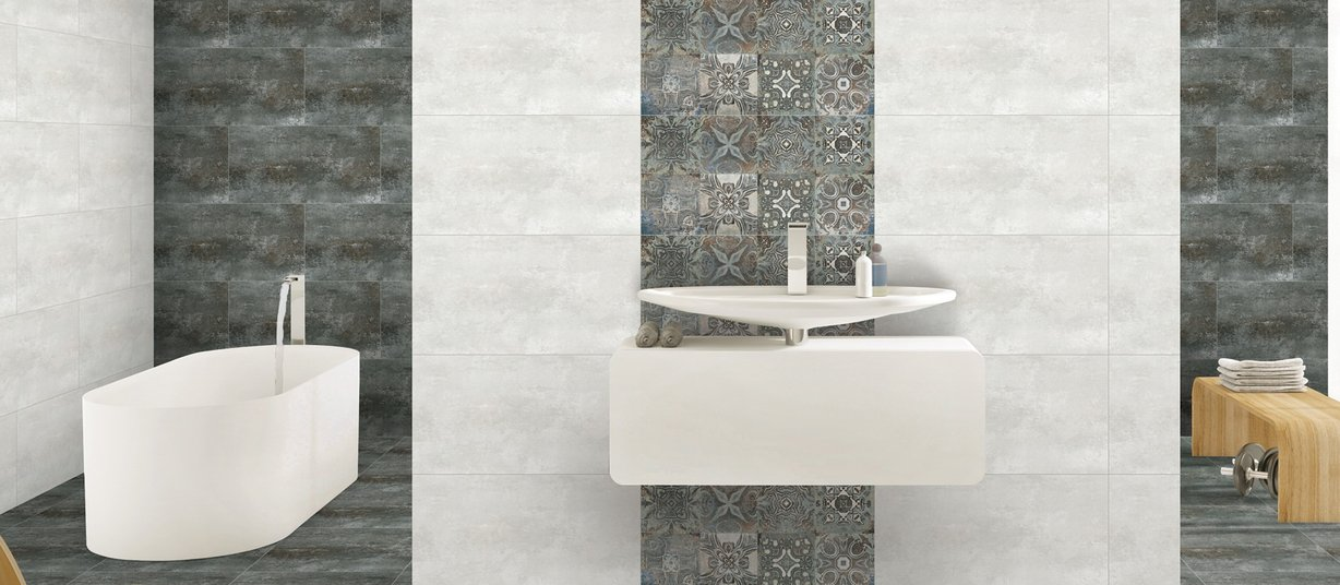 glory Grey and White tiles Modern style Bathroom