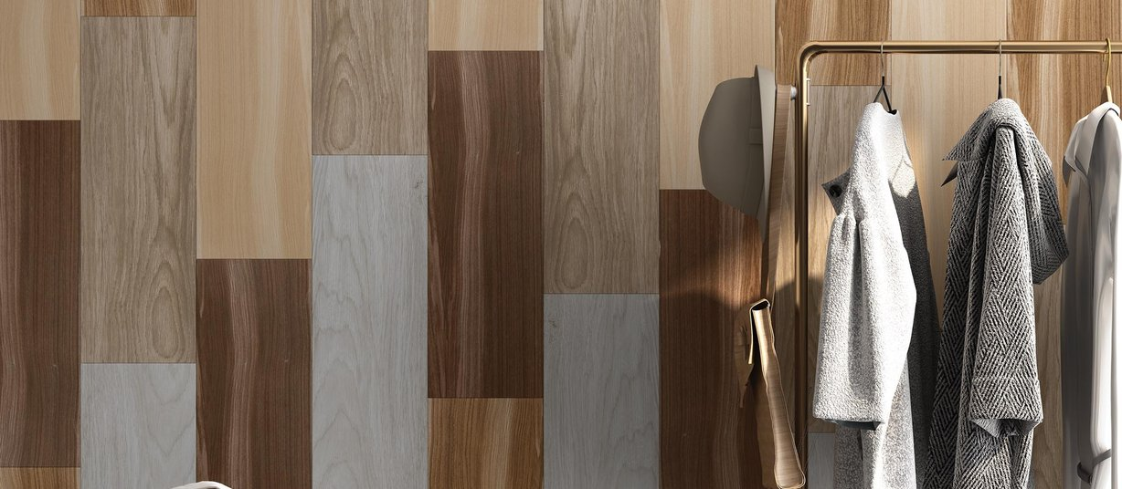 glossy wood Beige, Brown, Grey, Ivory and Mix tiles Modern style Living