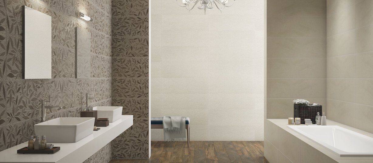 Graz Ivory and Mix tiles Modern style Bathroom