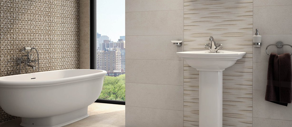 grigo Beige, Brown and Ivory tiles Modern style Bathroom