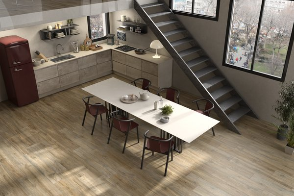 Hard wood Brown tiles Country style Kitchen