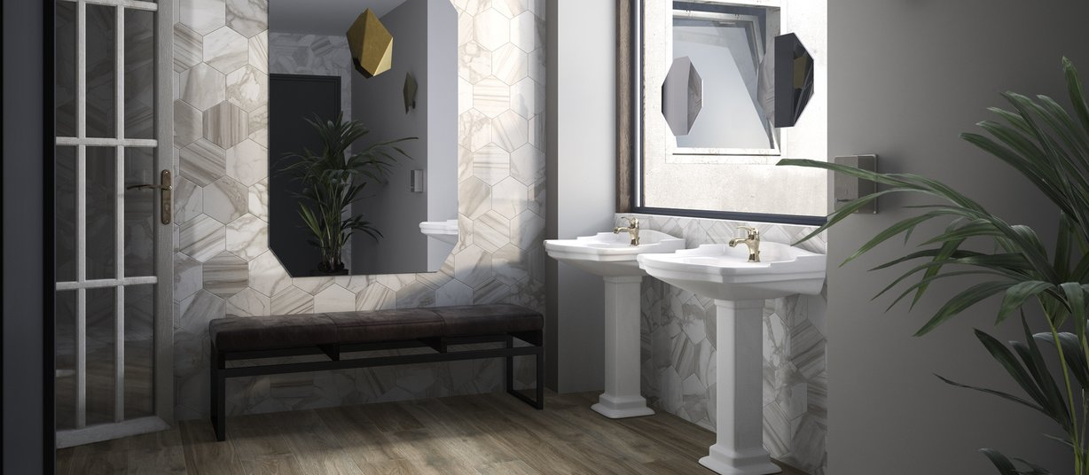 hard wood Brown and White tiles Classic style Bathroom