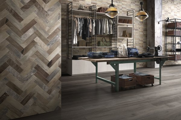 Hard wood Beige, Brown and Grey tiles Modern style Light Commercial