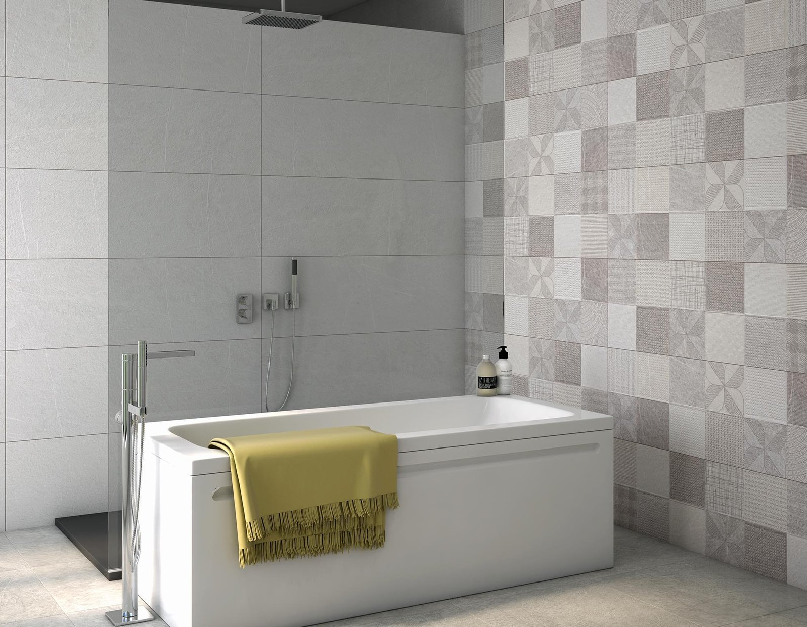 honor Grey and Mix tiles Modern style Bathroom