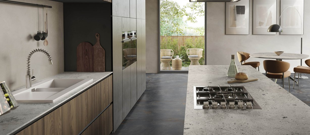 Iceland Stone Grey tiles Modern style Kitchen