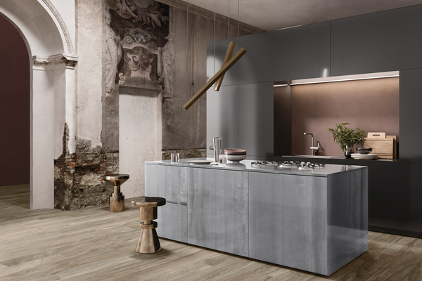 Icon metal Grey tiles Modern style Kitchen