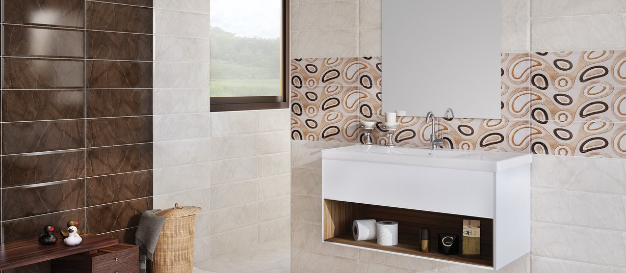 Intensity Brown and Ivory tiles Modern style Bathroom
