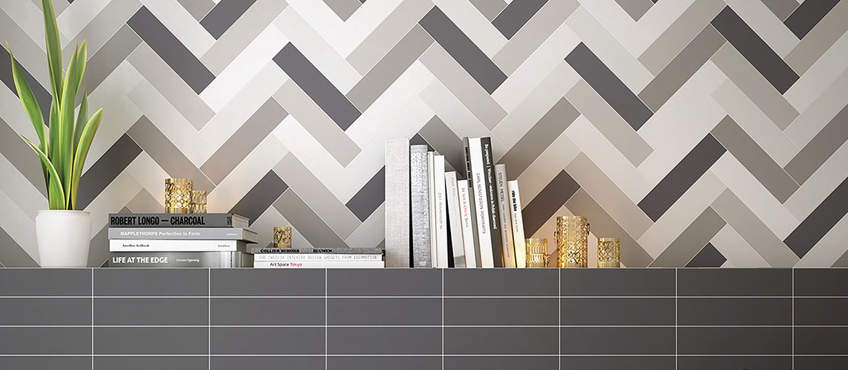 Kowon Black, Grey and White tiles Modern style Living