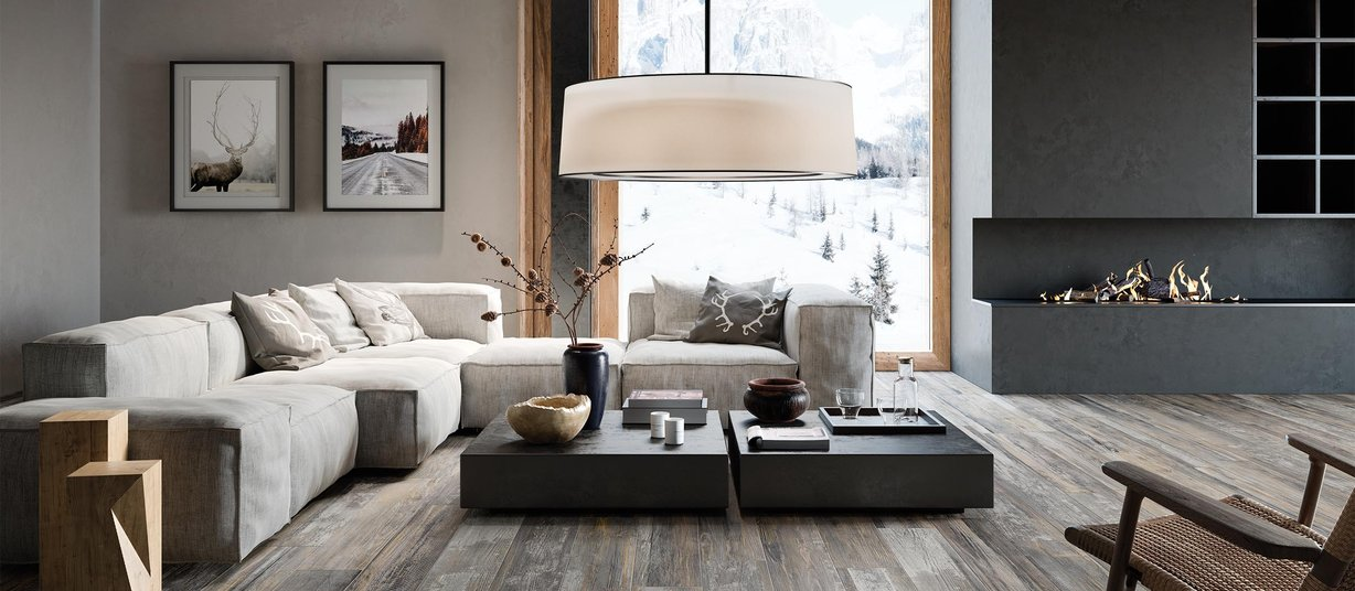 laguna cement wood Grigio, Marrone e Mix piastrelle Moderno stile Living