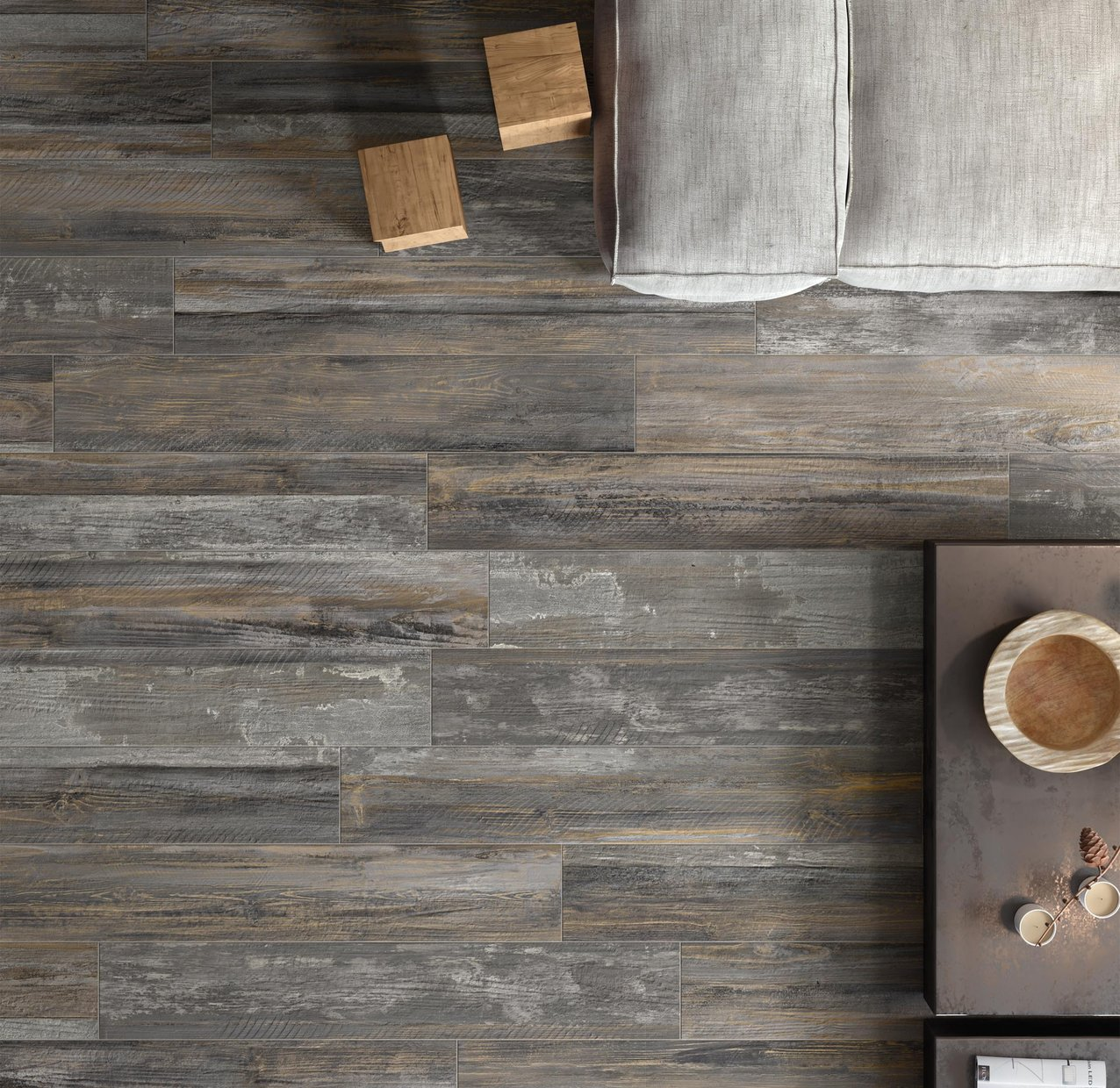 laguna cement wood Brown, Grey and Mix tiles Modern style Living