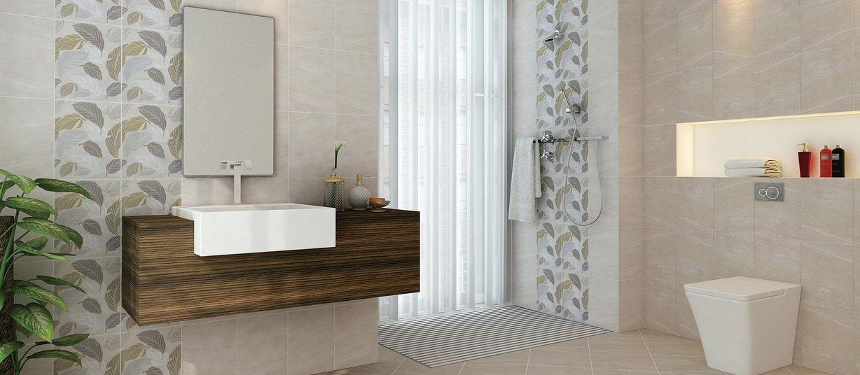 lamina Ivory and White tiles Country style Bathroom