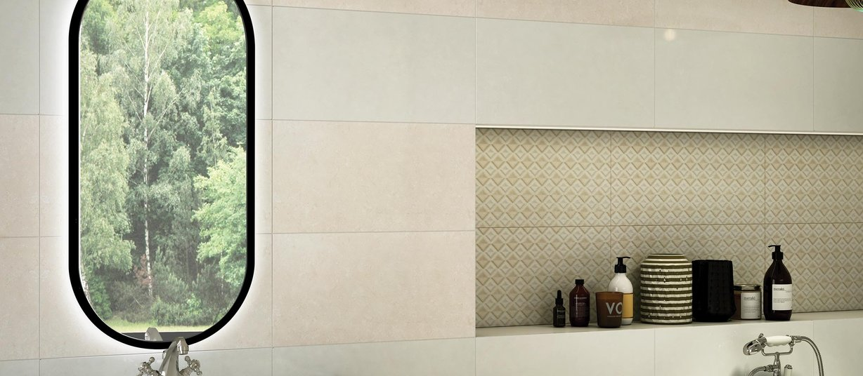 leinster Beige and Ivory tiles Modern style Bathroom