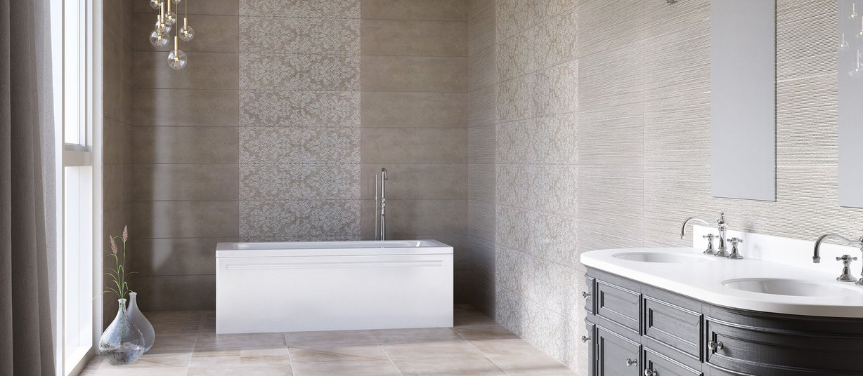 Linz Beige, Brown and Mix tiles Modern style Bathroom