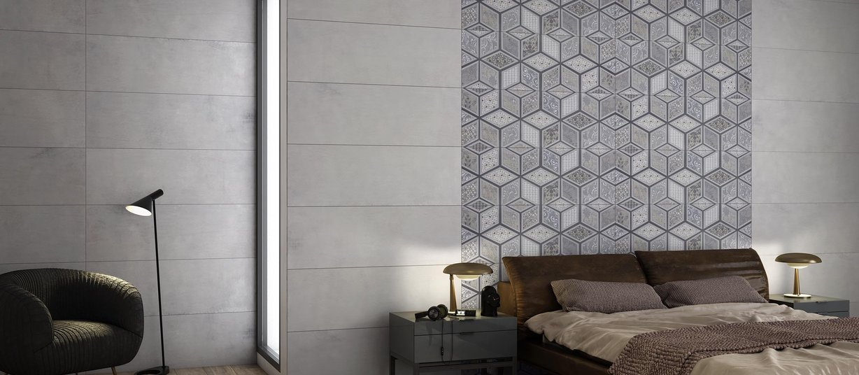 lithos Grey and Mix tiles Modern style Living