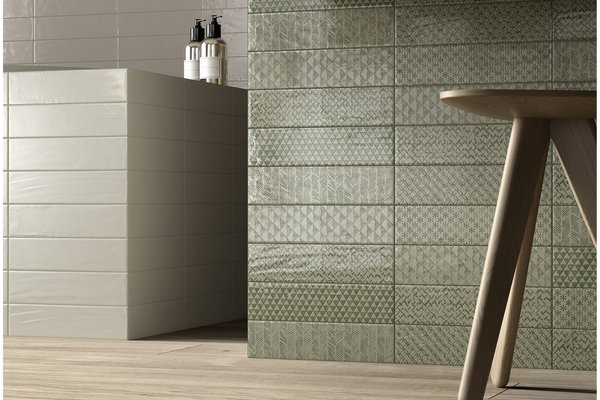 loft brick Green, Grey and White tiles Modern style Bathroom