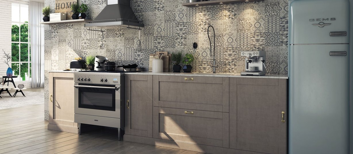 London Brown, Grey and Mix tiles Modern style Kitchen