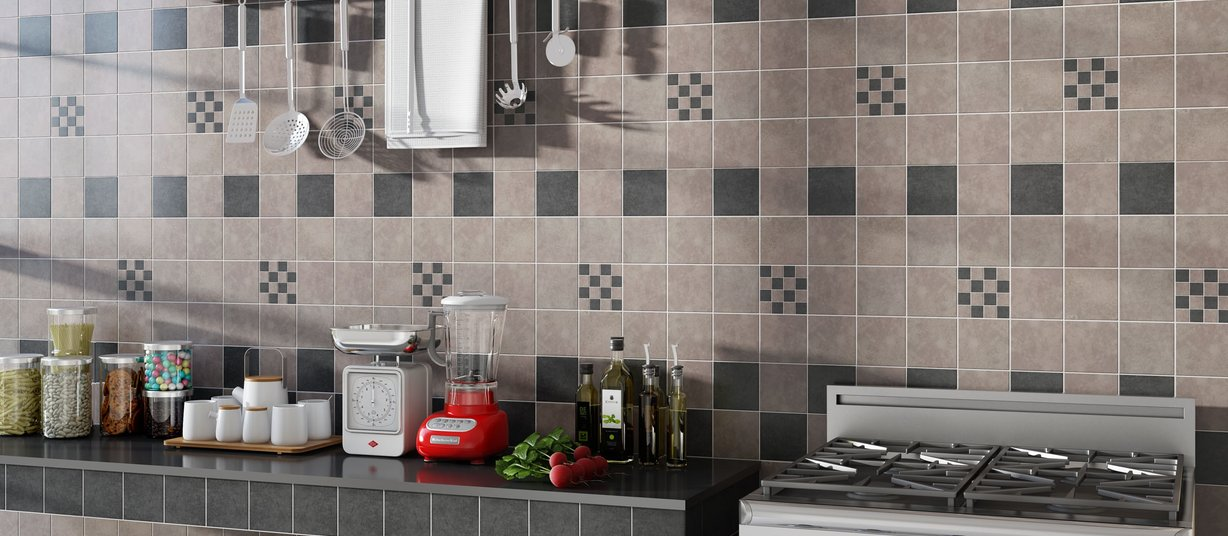 lotus Black and Grey tiles Country style Kitchen