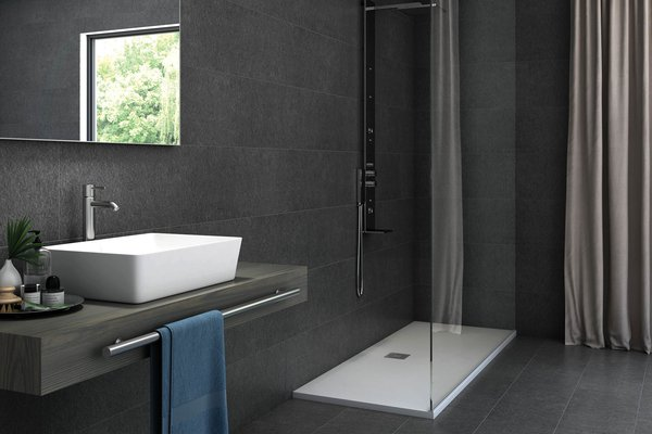 lounge Black tiles Modern style Bathroom
