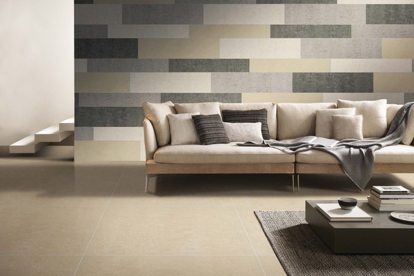 lounge Beige, Grey and Ivory tiles Modern style Living