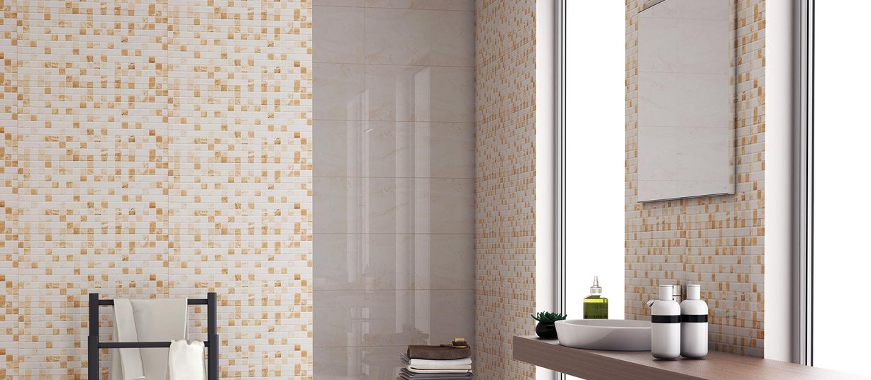 lucca Beige and Mix tiles Modern style Bathroom