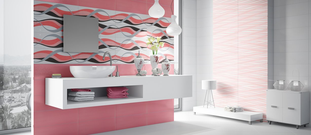 Luster Mix, Pink and White tiles Modern style Bathroom