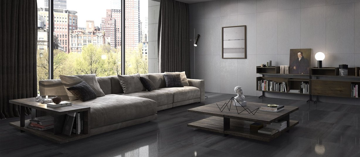 M project spatolato Grey tiles Modern style Living