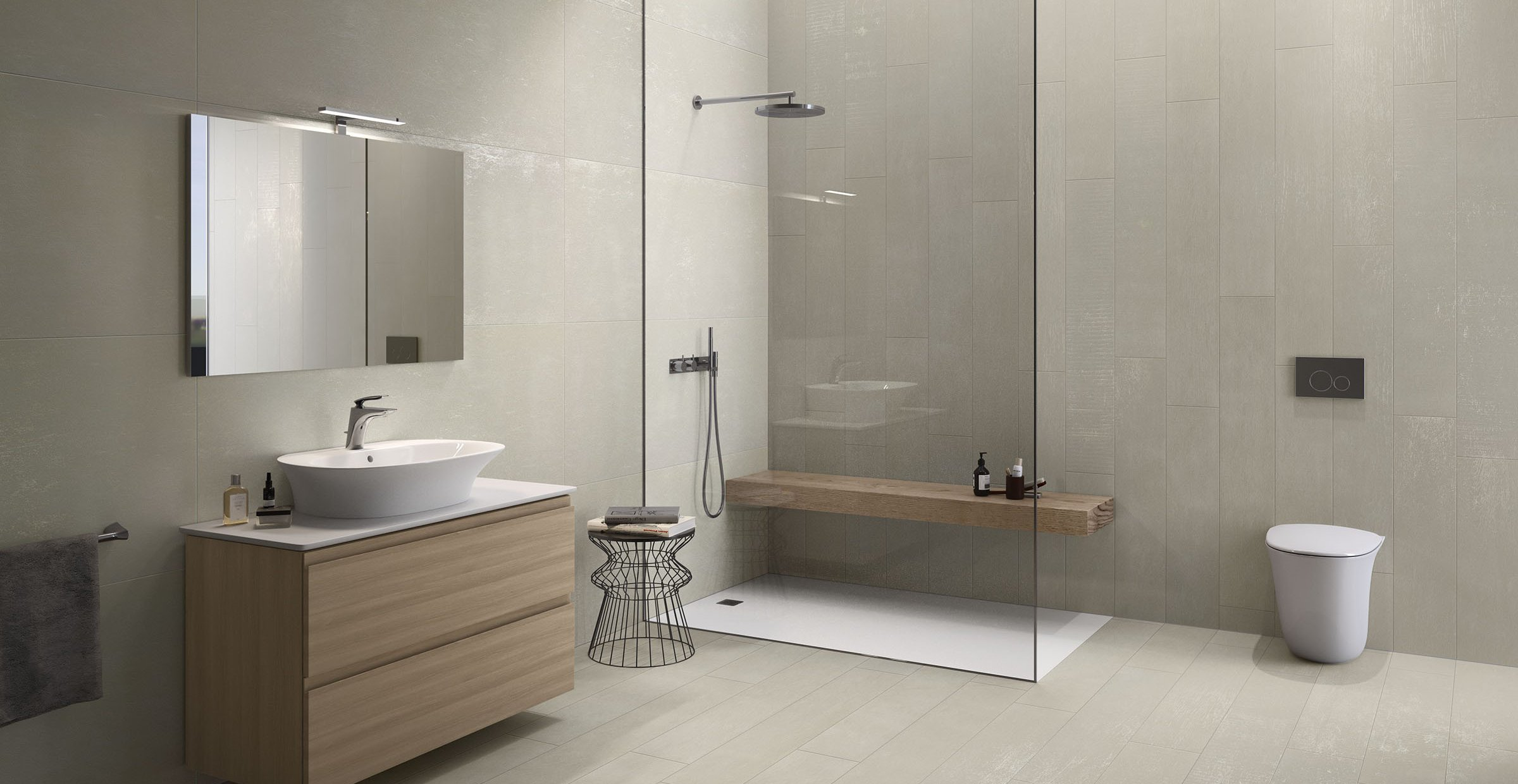 M project wood Beige tiles Modern style Bathroom
