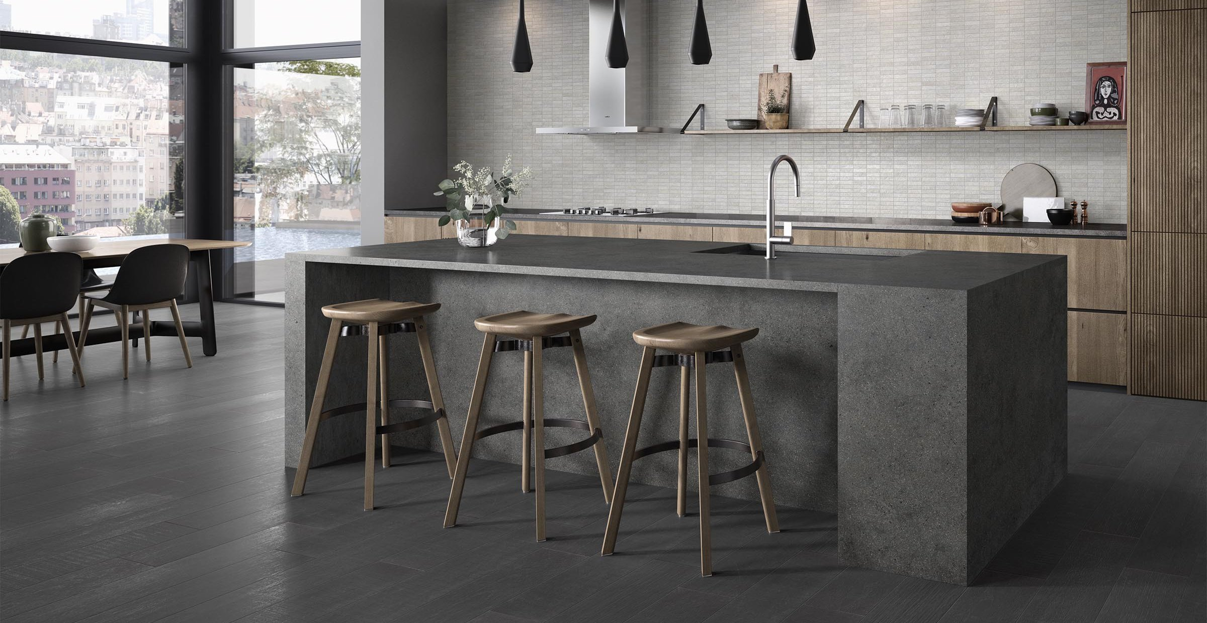 M project wood Grey tiles Modern style Kitchen