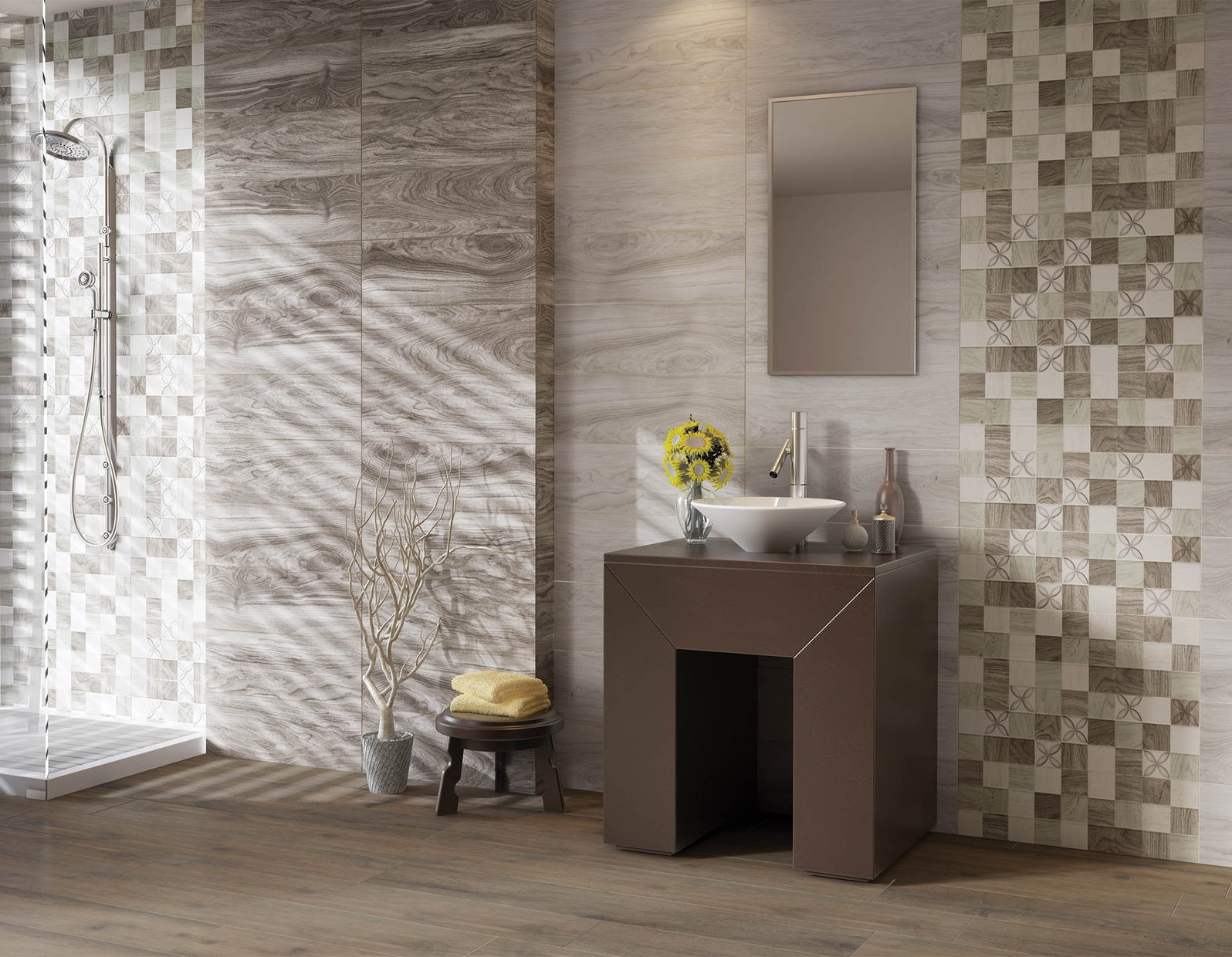 Mahoe wood Brown and Grey tiles Country style Bathroom