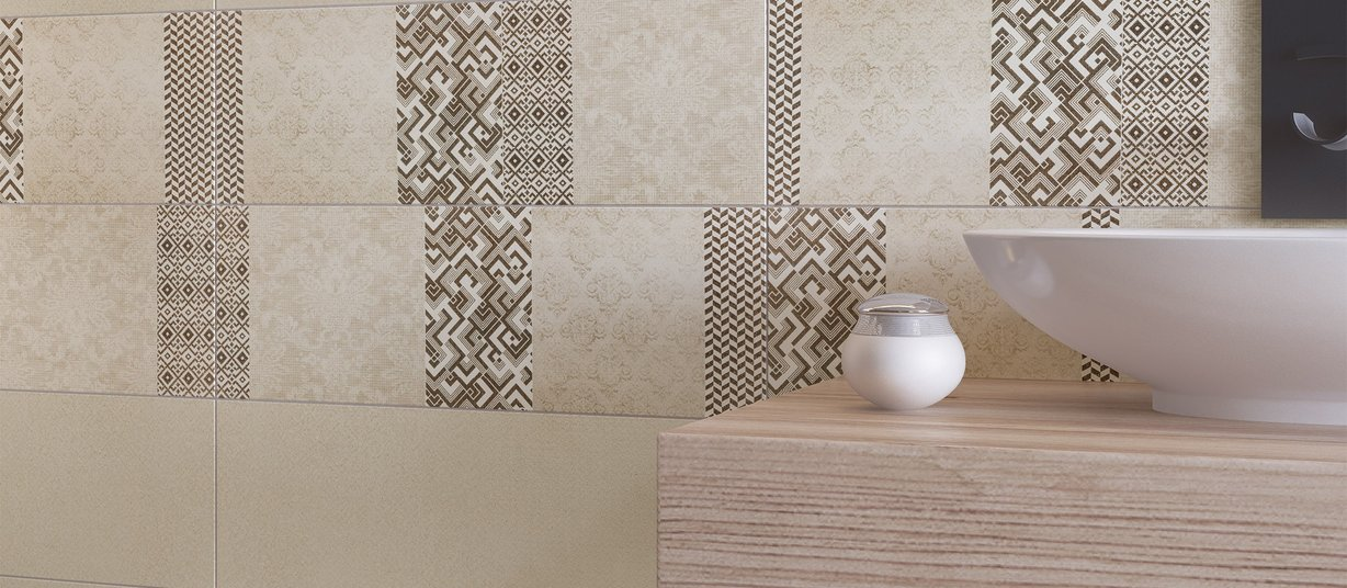 maiden Brown and Ivory tiles Modern style Bathroom