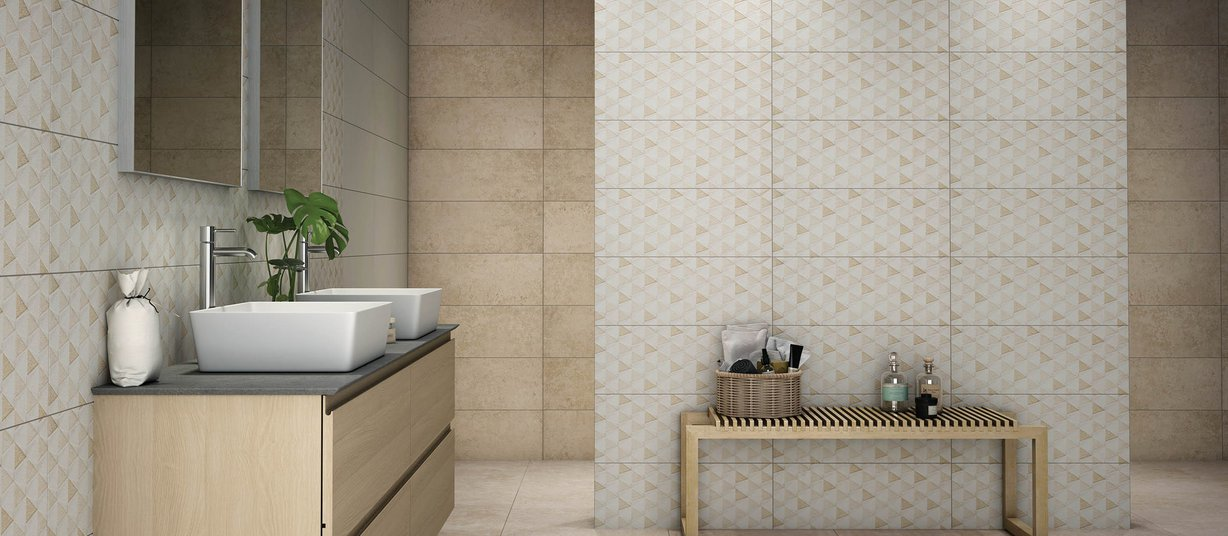 Mandro Beige and Brown tiles Modern style Bathroom