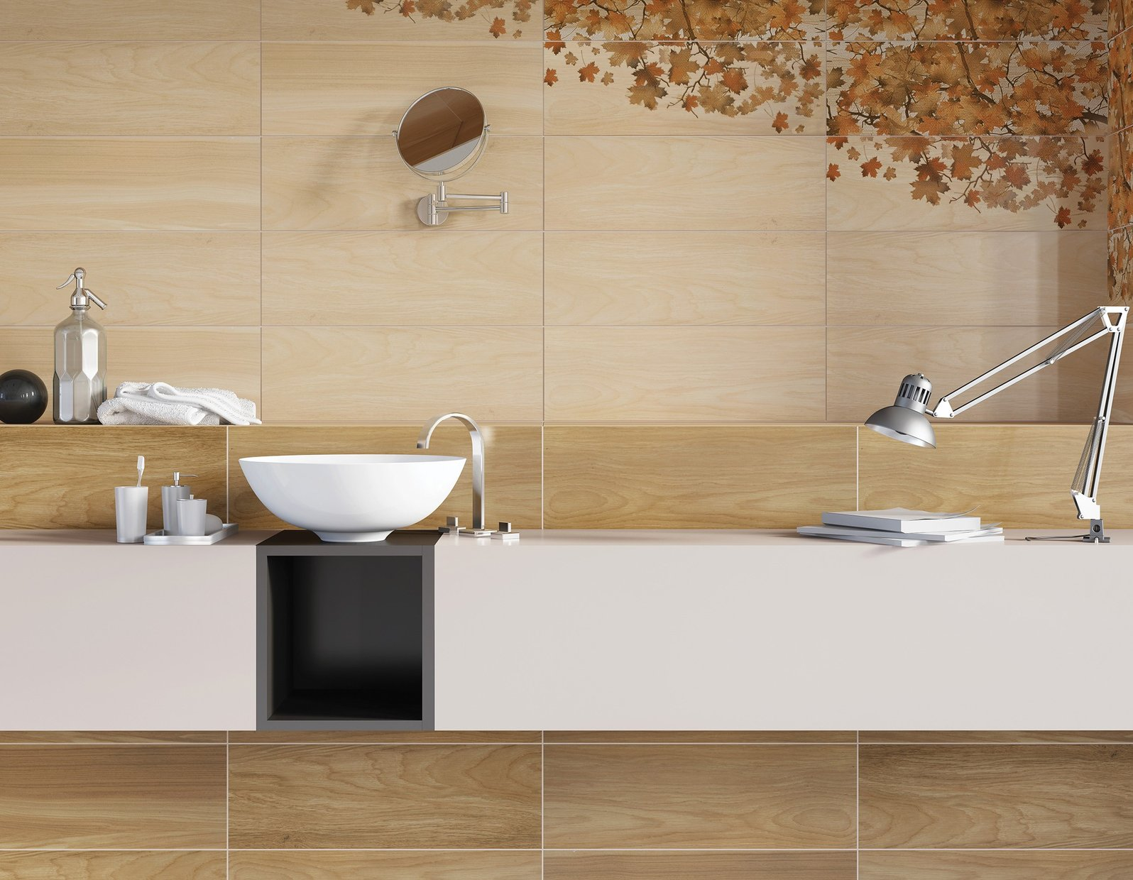 maplewood Beige, Ivory and Mix tiles Modern style Bathroom